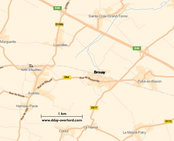 Image : carte du secteur de Brouay - Bataille de Normandie en 1944