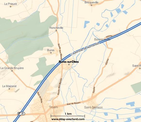 Image : carte de la commune de Bures-sur-Dives