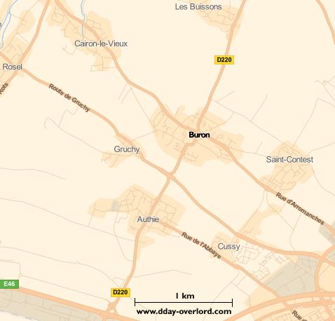 Image : carte du secteur de Buron - Bataille de Normandie en 1944