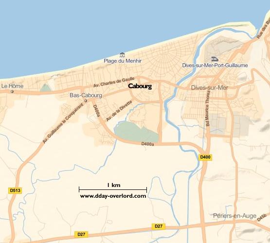 Image : carte du secteur de Cabourg - Bataille de Normandie en 1944