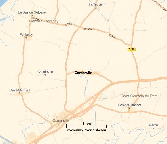 Image : carte du secteur de Cardonville- Bataille de Normandie en 1944
