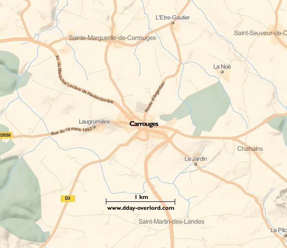Image : Carte de Carrouges dans l'Orne