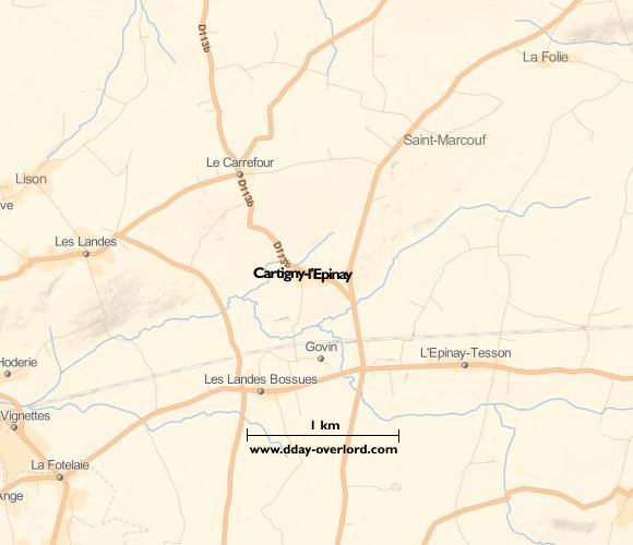 Image : carte du secteur de Cartigny-l'Epinay - Bataille de Normandie en 1944