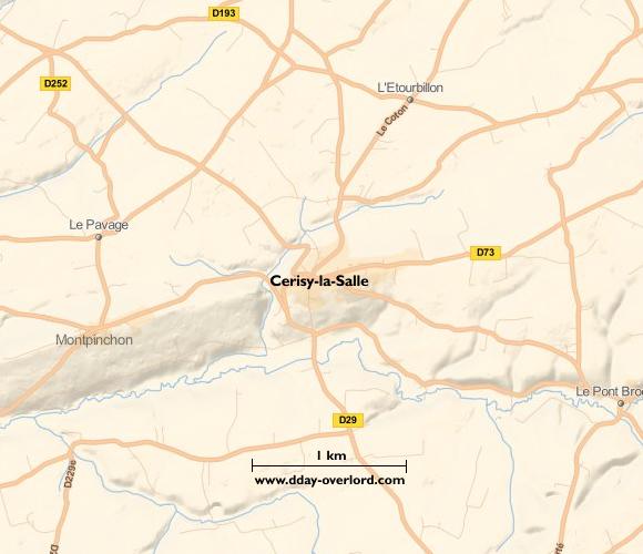 Image : carte du secteur de Cerisy-la-Salle - Bataille de Normandie en 1944
