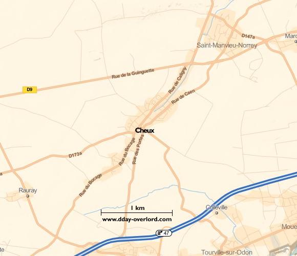 Image : carte du secteur de Cheux - Bataille de Normandie en 1944