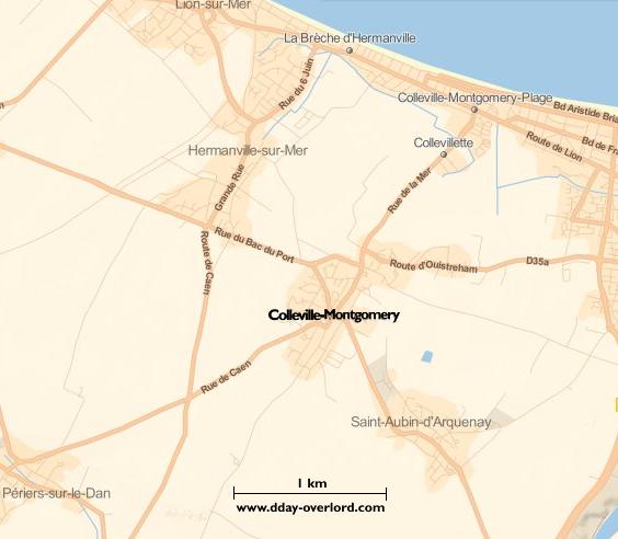 Image : carte du secteur de Colleville-Montgomery - Bataille de Normandie en 1944