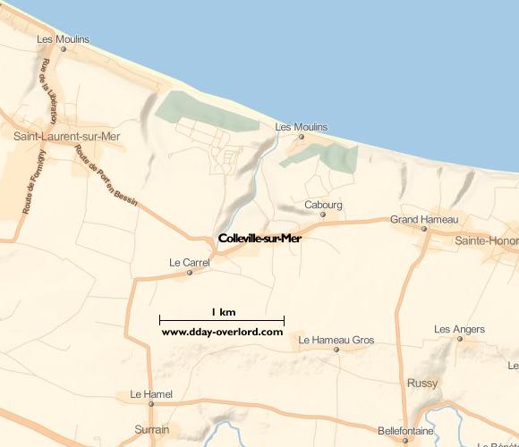 Image : carte du secteur de Colleville-sur-Mer - Bataille de Normandie en 1944