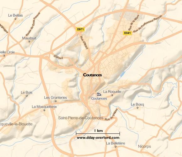 Image : carte du secteur de Coutances - Bataille de Normandie en 1944
