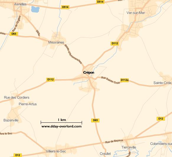 Image : carte du secteur de Crépon - Bataille de Normandie en 1944