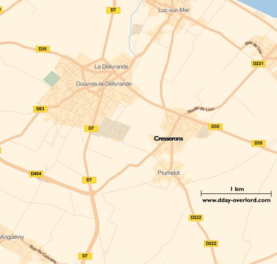 Image : carte du secteur de Cresserons - Bataille de Normandie en 1944