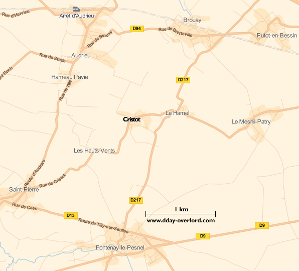 Image : carte du secteur de Cristot - Bataille de Normandie en 1944