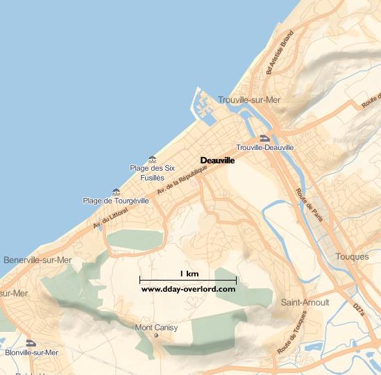 Image : carte du secteur de Deauville - Bataille de Normandie en 1944