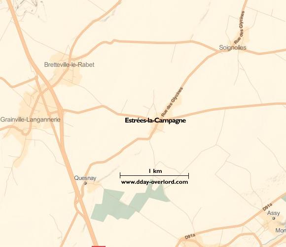 Image : carte de la commune de Estrées-la-Campagne