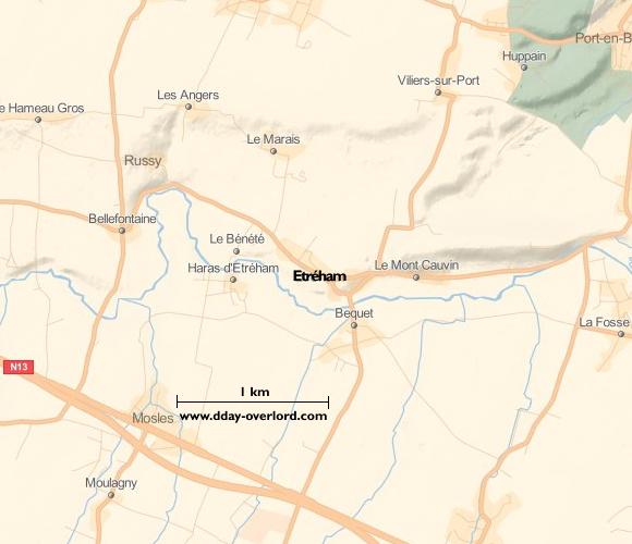 Image : carte du secteur de Etréham - Bataille de Normandie en 1944