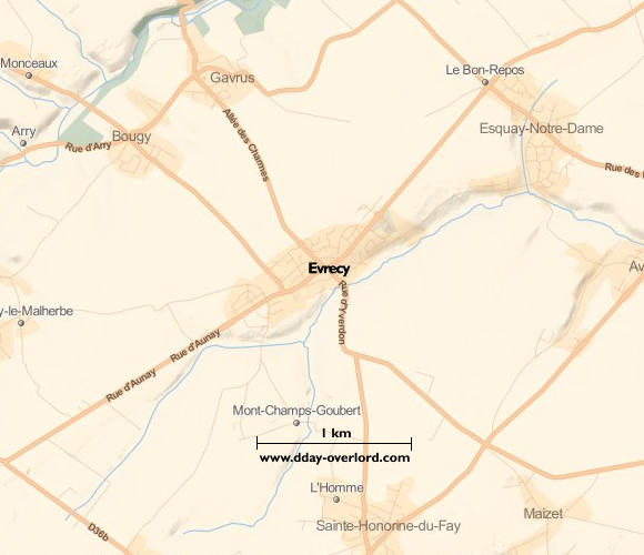 Image : Carte de Evrecy dans le Calvados
