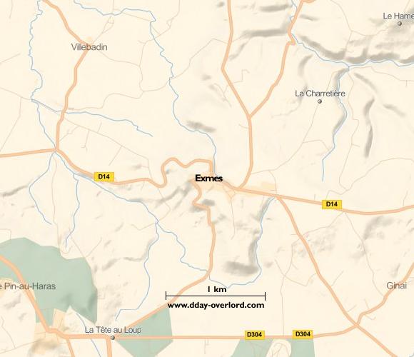 Image : Carte de Exmes dans l'Orne