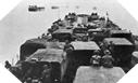 Image : Un convoi de navires Alliés transportant les hommes et le matériel devant débarquer à Gold Beach