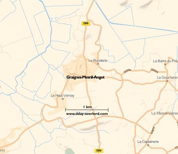Image : carte du secteur de Graignes-Mesnil-Angot - Bataille de Normandie en 1944