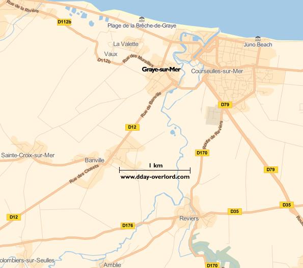 Image : carte du secteur de Graye-sur-Mer - Bataille de Normandie en 1944