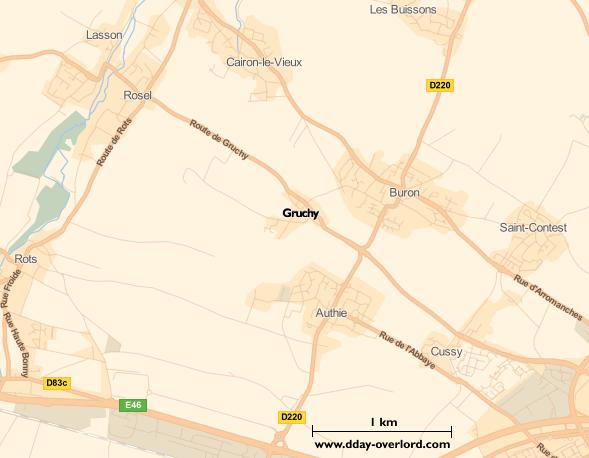 Image : carte du secteur de Gruchy - Bataille de Normandie en 1944