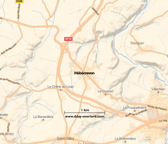 Image : carte du secteur de Hébécrevon - Bataille de Normandie en 1944