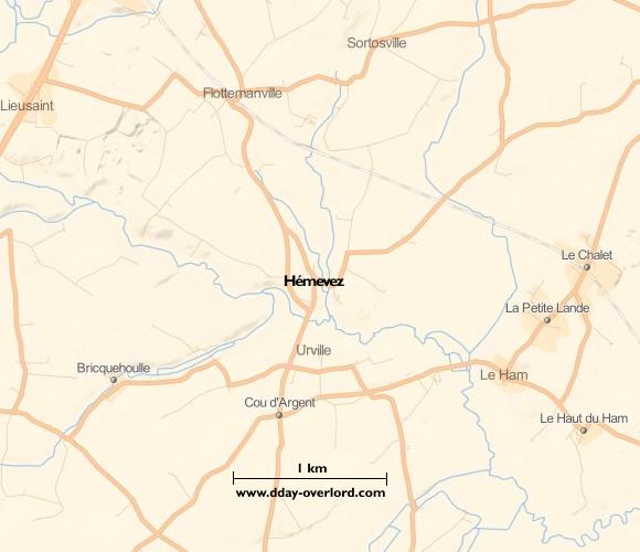 Image : carte du secteur de Hémevez - Bataille de Normandie en 1944