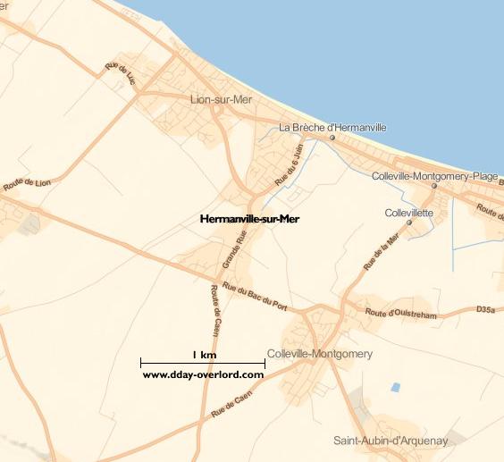 Image : carte du secteur de Hermanville-sur-Mer - Bataille de Normandie en 1944
