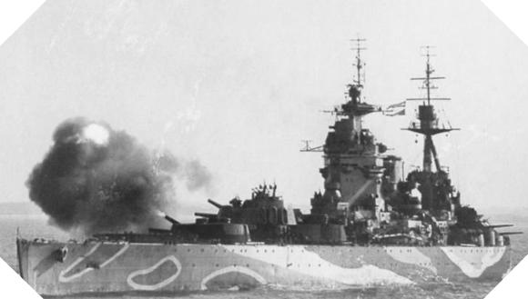 Image : L'HMS Rodney devant les plages du débarquement en juin 1944