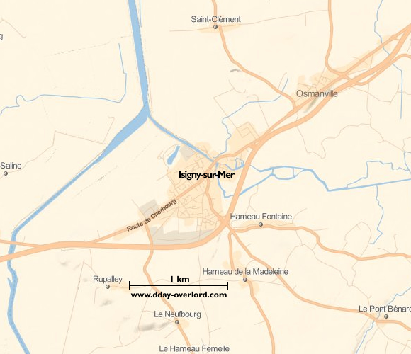 Image : carte du secteur de Isigny-sur-Mer- Bataille de Normandie en 1944