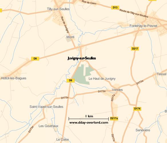 Image : carte du secteur de Juvigny-sur-Seulles - Bataille de Normandie en 1944
