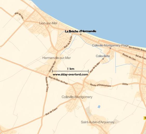 Image : carte du secteur de La Brèche d'Hermanville - Bataille de Normandie en 1944