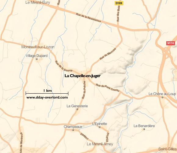 Image : carte du secteur de La Chapelle-en-Juger - Bataille de Normandie en 1944