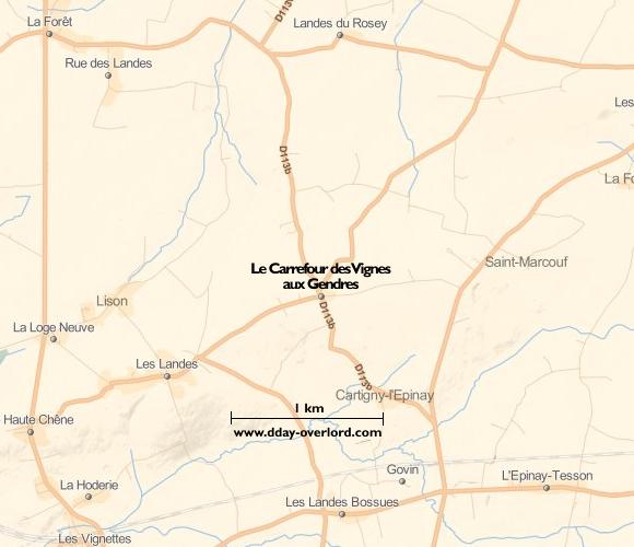 Image : carte du secteur de Le Carrefour des Vignes aux Gendres - Bataille de Normandie en 1944