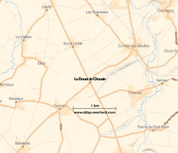 Image : carte du secteur de Le Douet de Chouain - Bataille de Normandie en 1944