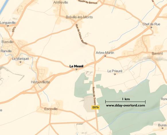 Image : carte du secteur de Le Mesnil - Bataille de Normandie en 1944