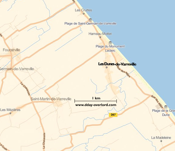 Image : carte de la commune de Les-Dunes-de-Varreville