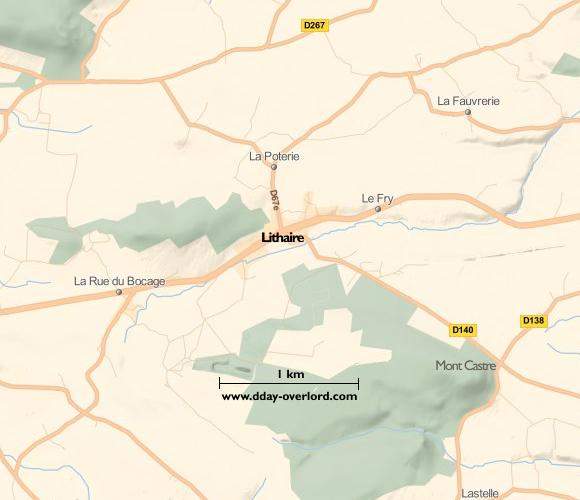 Image : carte du secteur de Lithaire - Bataille de Normandie en 1944