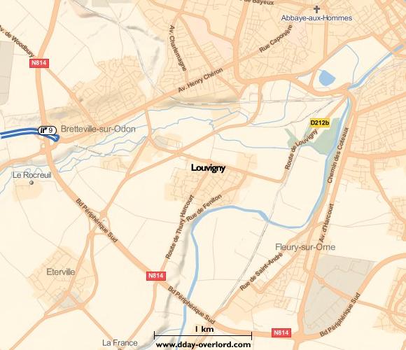 Image : carte du secteur de Louvigny- Bataille de Normandie en 1944