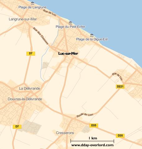 Image : carte du secteur de Luc-sur-Mer - Bataille de Normandie en 1944