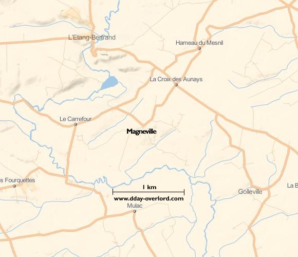 Image : carte du secteur de Magneville - Bataille de Normandie en 1944