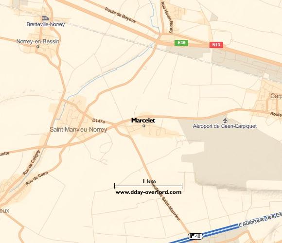 Image : carte du secteur de Marcelet - Bataille de Normandie en 1944