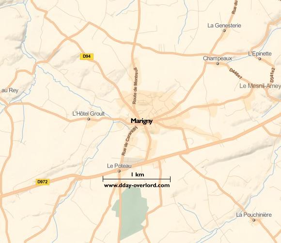 Image : carte du secteur de Marigny - Bataille de Normandie en 1944