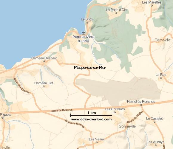 Image : carte du secteur de Maupertus-sur-Mer - Bataille de Normandie en 1944