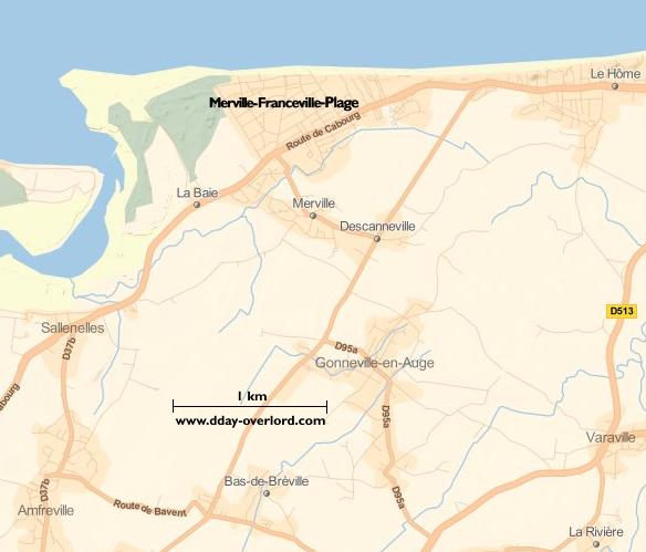 Image : carte du secteur de Merville-Franceville - Bataille de Normandie en 1944