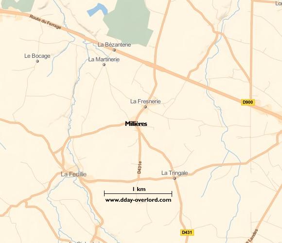 Image : carte du secteur de Millières - Bataille de Normandie en 1944