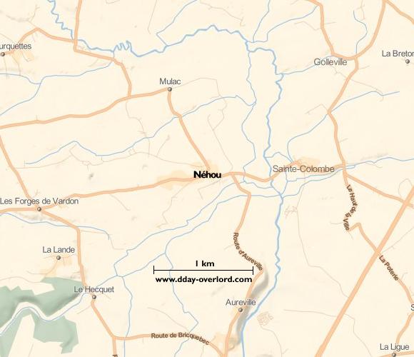 Image : carte du secteur de Néhou - Bataille de Normandie en 1944