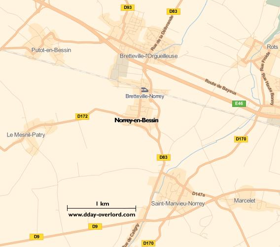 Image : carte du secteur de Norrey-en-Bessin - Bataille de Normandie en 1944