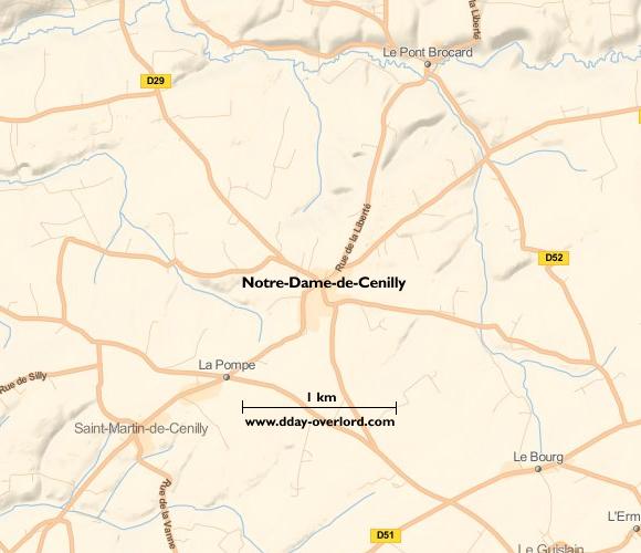 Image : carte du secteur de Notre-Dame-de-Cenilly - Bataille de Normandie en 1944
