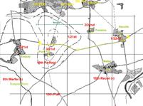 Image : Répartition des positions alliées et allemandes autour de la cote 112 le 10 juillet 1944