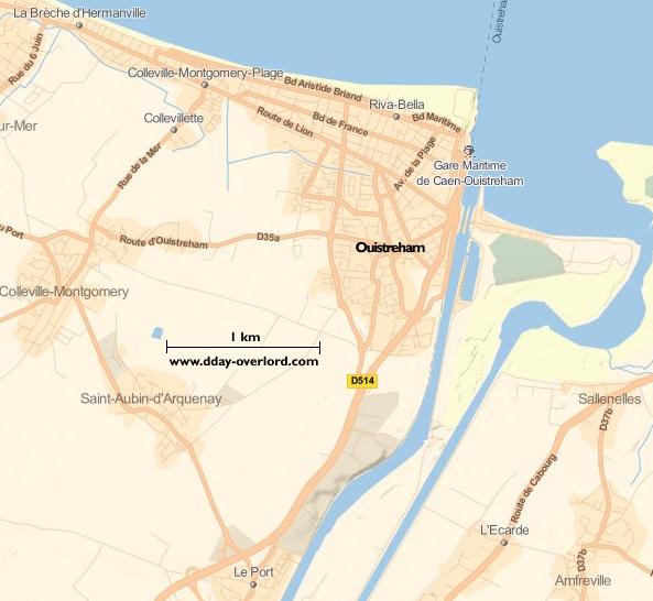 Image : carte du secteur de Ouistreham-Riva-Bella - Bataille de Normandie en 1944